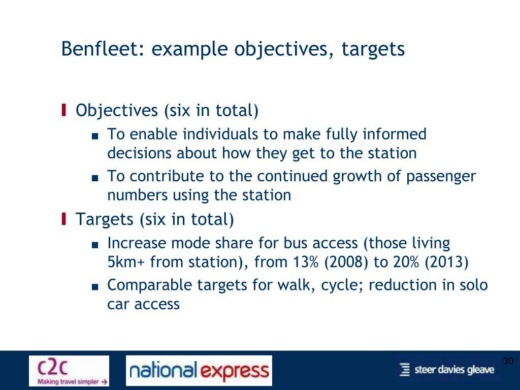 Benfleet: example objectives, targets