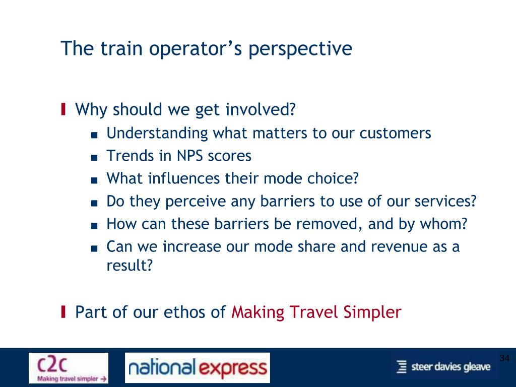 The train operator's perspective