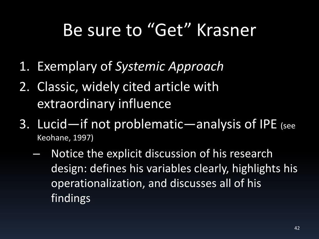 "Be sure to ""Get"" Krasner"