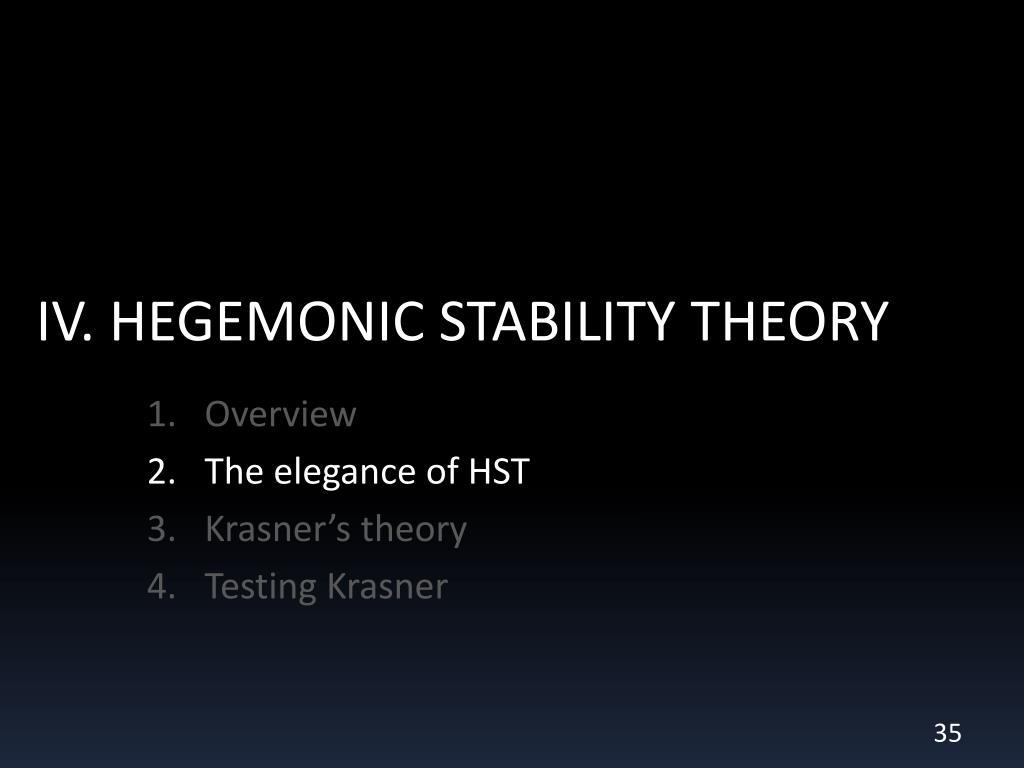 IV. HEGEMONIC STABILITY THEORY