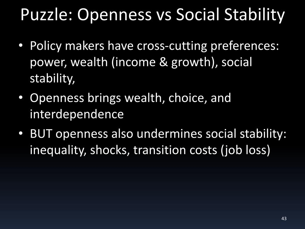 Puzzle: Openness vs Social Stability