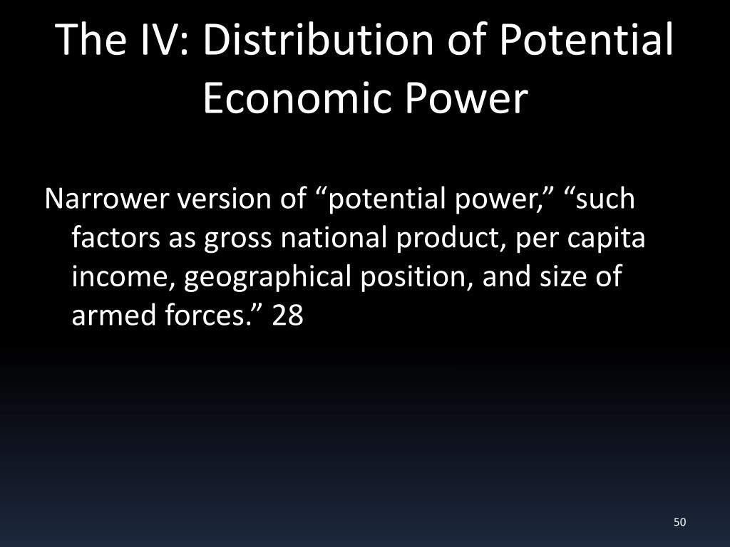 The IV: Distribution of Potential Economic Power