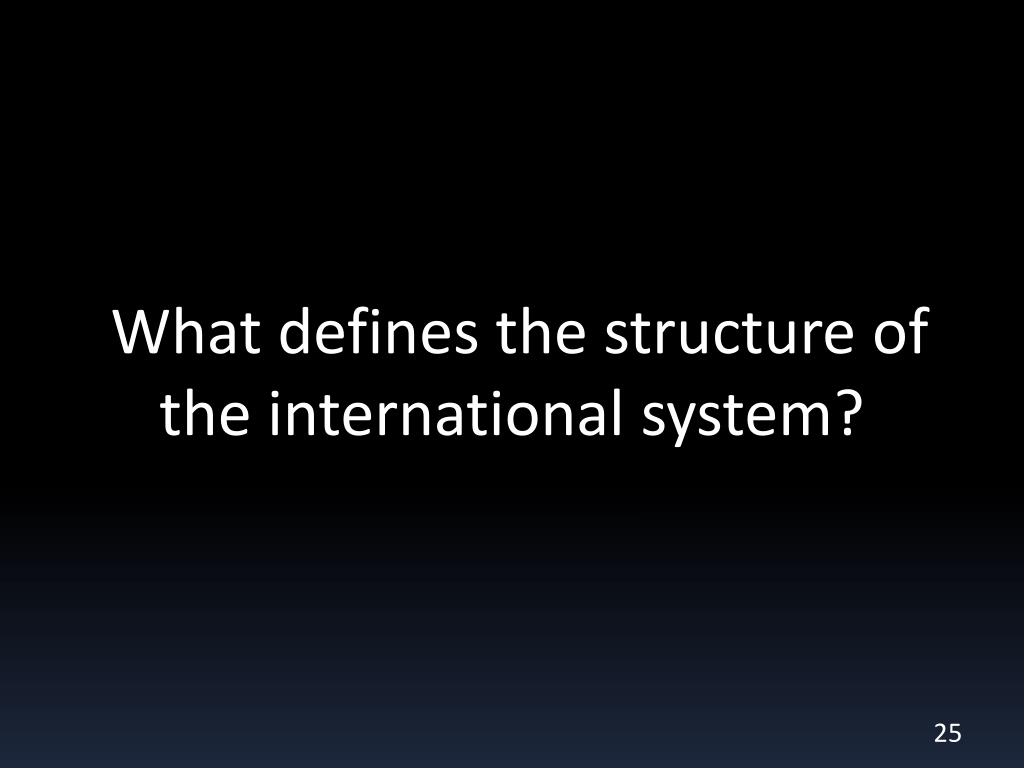 What defines the structure of the international system?