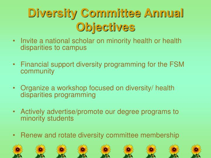 Diversity Committee Annual Objectives