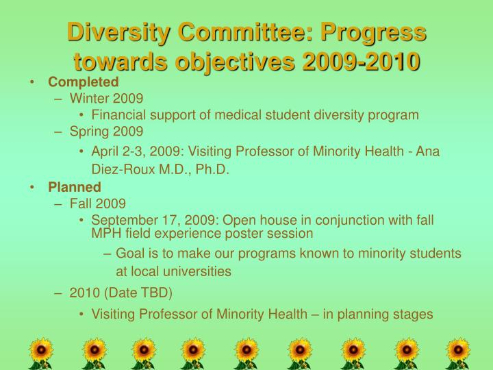 Diversity Committee: Progress towards objectives 2009-2010