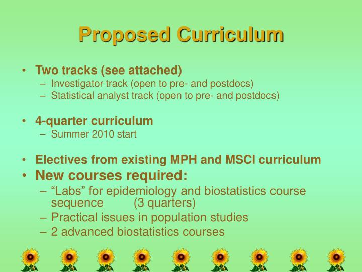 Proposed Curriculum