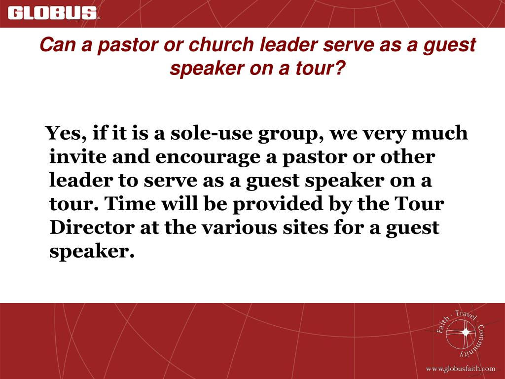 Can a pastor or church leader serve as a guest speaker on a tour?