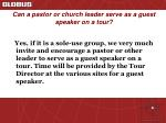 can a pastor or church leader serve as a guest speaker on a tour