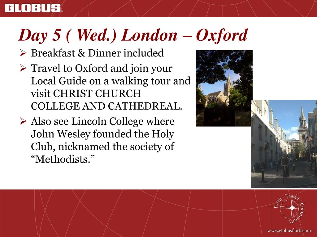 Day 5 ( Wed.) London – Oxford
