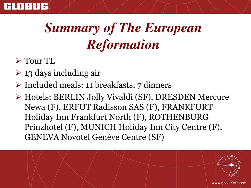 Summary of The European Reformation