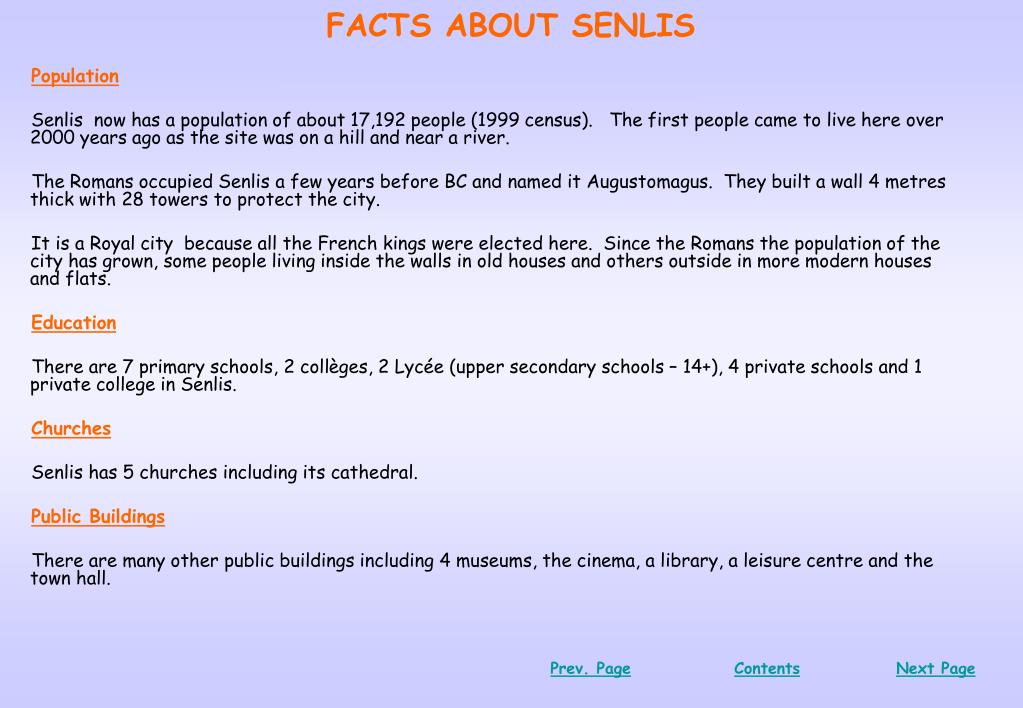 FACTS ABOUT SENLIS