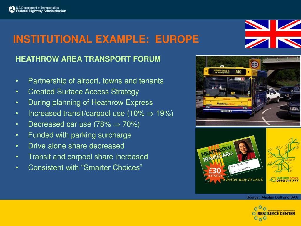 INSTITUTIONAL EXAMPLE:  EUROPE