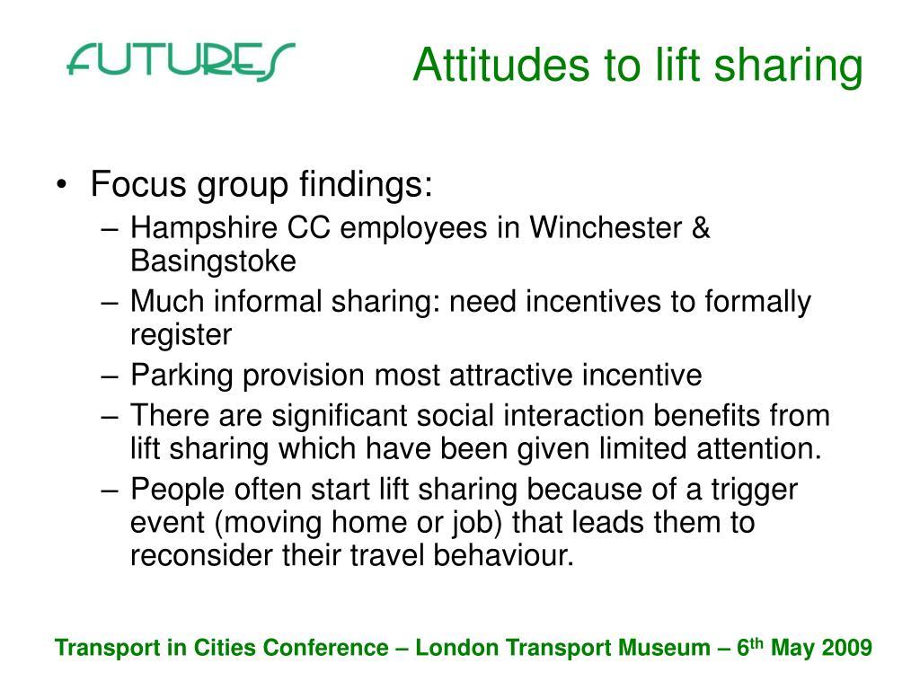 Attitudes to lift sharing