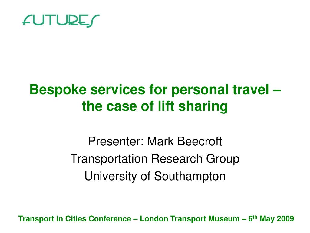 bespoke services for personal travel the case of lift sharing l.