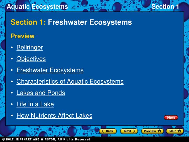 Section 1 freshwater ecosystems