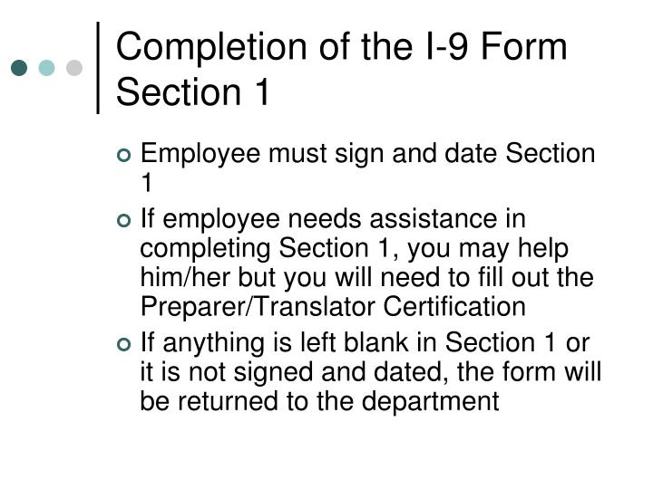 Completion of the I-9 Form