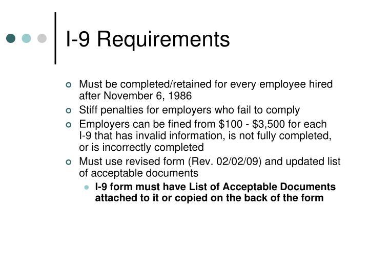 I 9 requirements
