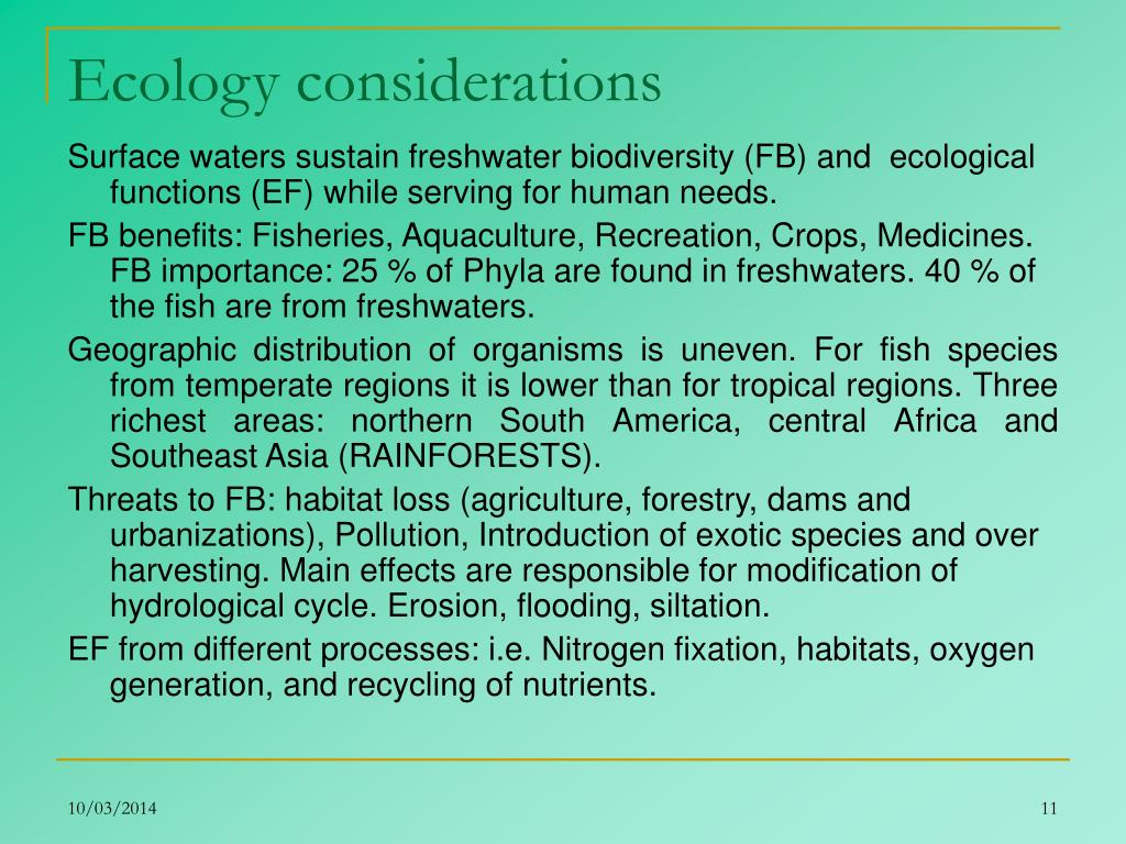 Ecology considerations