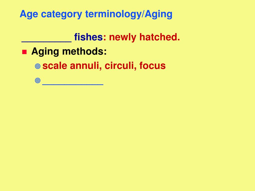 Age category terminology/Aging