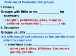 divisions of freshwater fish groups