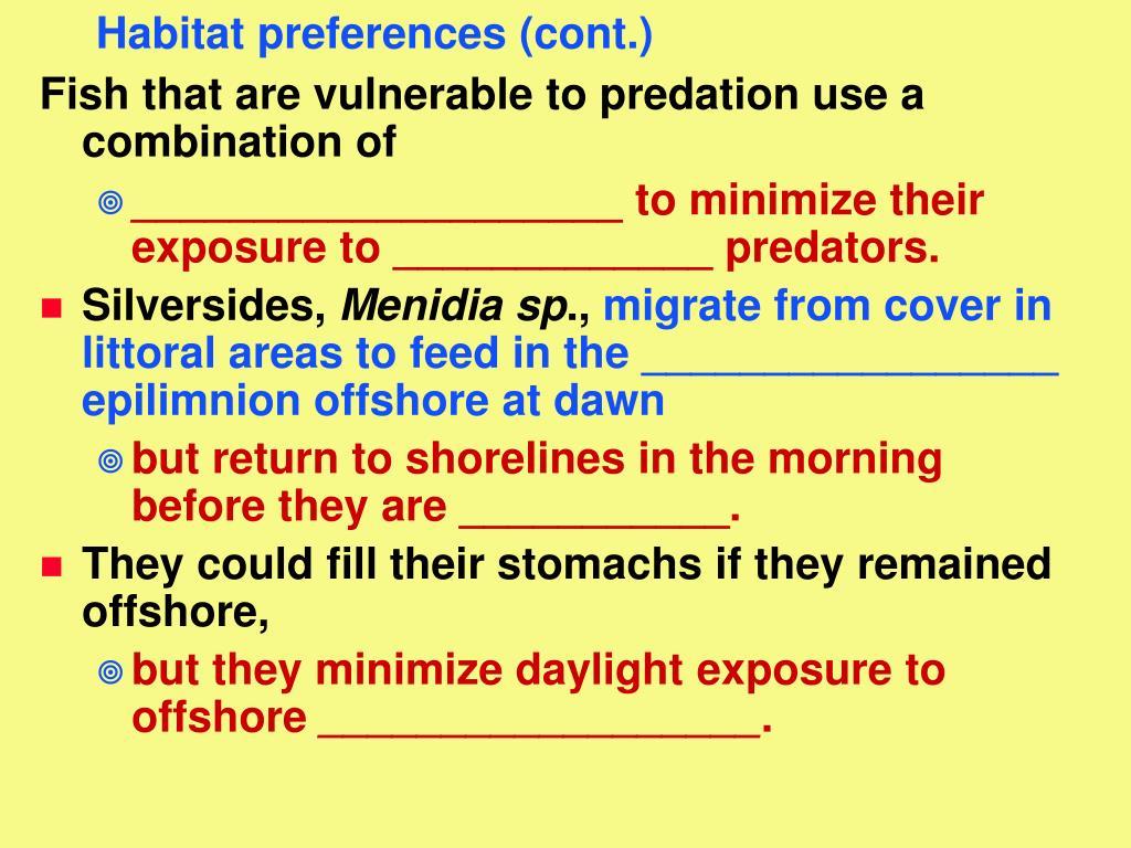 Habitat preferences (cont.)