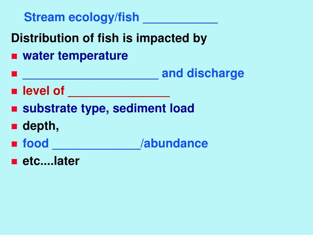 Stream ecology/fish ___________