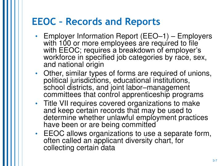 EEOC – Records and Reports