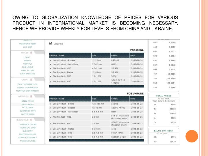 OWING TO GLOBALIZATION KNOWLEDGE OF PRICES FOR VARIOUS PRODUCT IN INTERNATIONAL MARKET IS BECOMING NECESSARY. HENCE WE PROVIDE WEEKLY FOB LEVELS FROM CHINA AND UKRAINE.