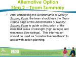 alternative option step 2 team summary