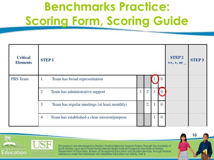 Benchmarks Practice:
