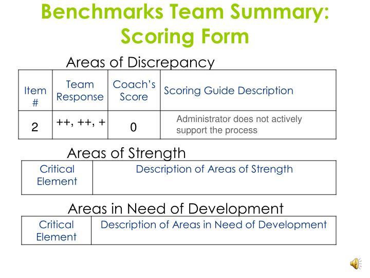 Benchmarks Team Summary: