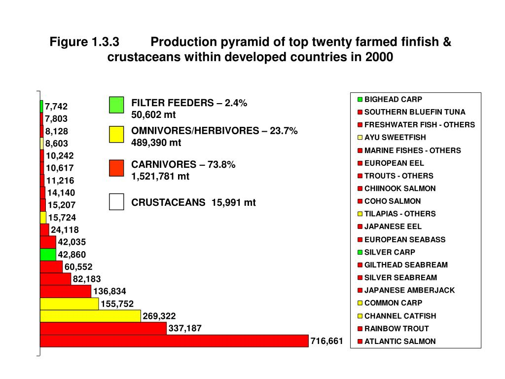 Figure 1.3.3	Production pyramid of top twenty farmed finfish & crustaceans within developed countries in 2000