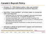canada s boycott policy