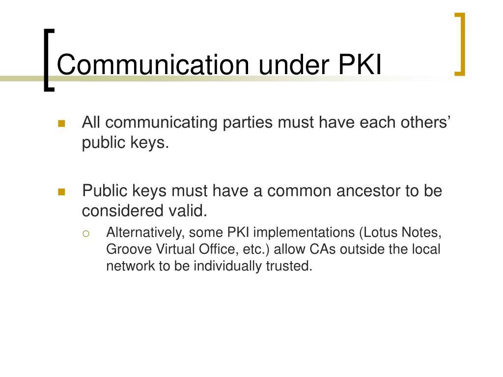 Communication under PKI
