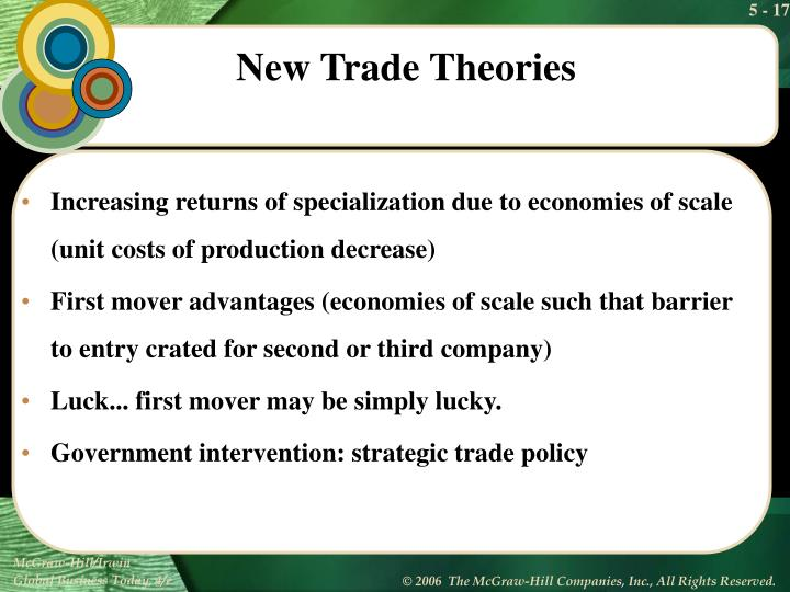 Increasing returns of specialization due to economies of scale (unit costs of production decrease)
