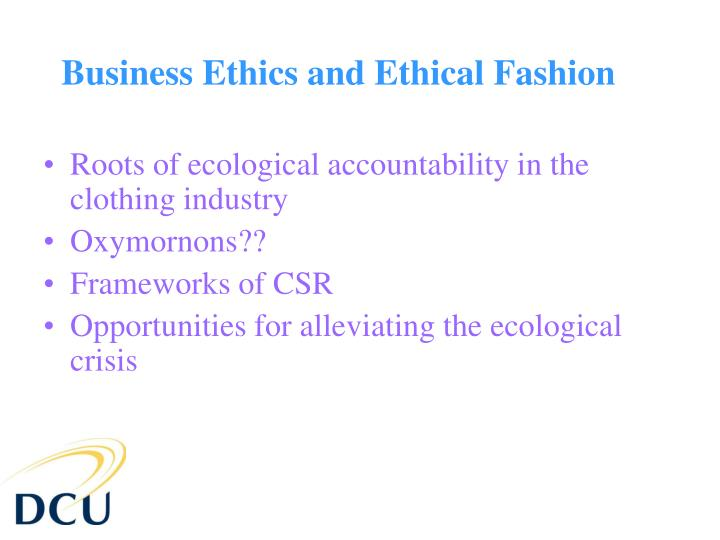 Business ethics and ethical fashion