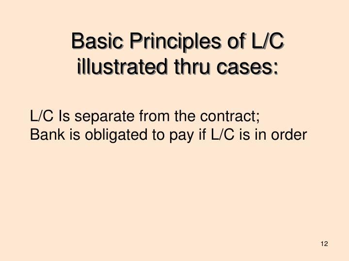 Basic Principles of L/C illustrated thru cases: