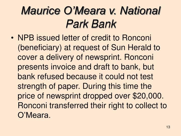 Maurice O'Meara v. National Park