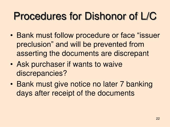 Procedures for Dishonor of L/C
