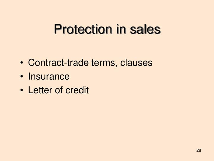 Protection in sales