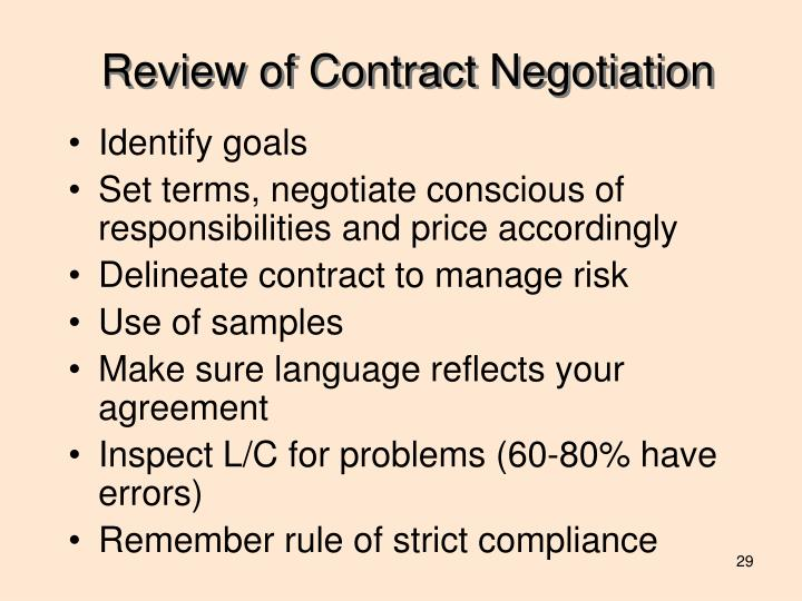 Review of Contract Negotiation