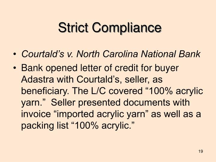 Strict Compliance
