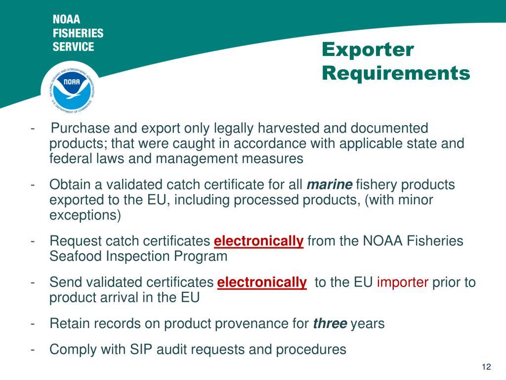 Exporter Requirements