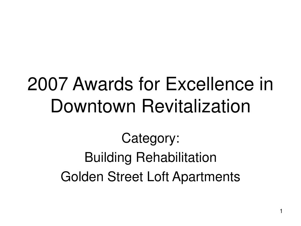 2007 awards for excellence in downtown revitalization l.