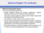 goals for english 110 continued