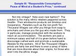 sample iii responsible consumption peace of mind at a student s price continued