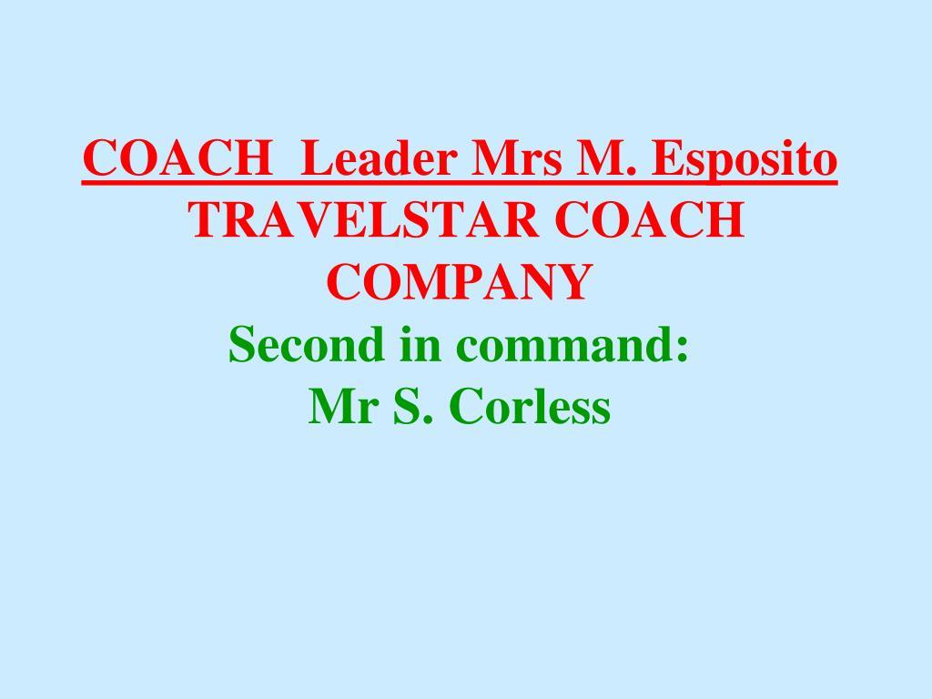 COACH  Leader Mrs M. Esposito