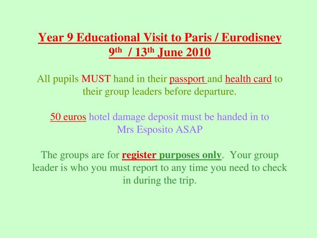 Year 9 Educational Visit to Paris / Eurodisney