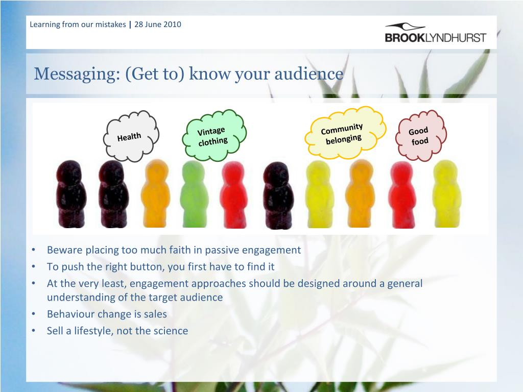 Messaging: (Get to) know your audience