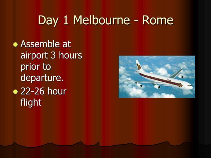 Day 1 melbourne rome